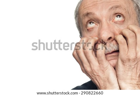 Stress concept - grimace of pain. Isolated on white background with copy-space - stock photo
