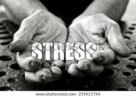 Stress concept in the old female hands  - stock photo