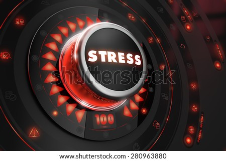 Stress Controller on Black Control Console with Red Backlight. Danger or Risk Control Concept. - stock photo