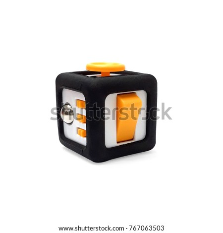 stress, Fidget Cube use case on white background