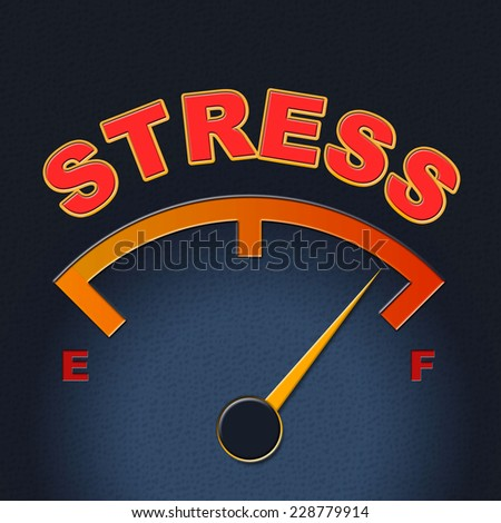 Stress Gauge Showing Measure Tension And Display - stock photo