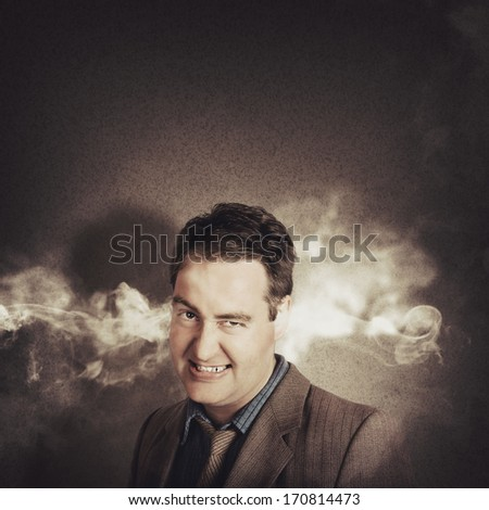 Stress head businessman looking angry and tired with steam pouring from ears