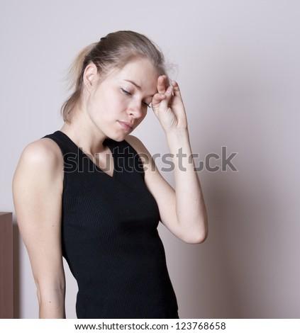 Stress.Headache pain - stock photo
