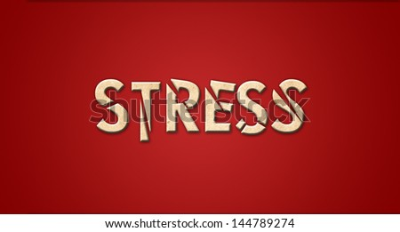 Stress in shattered text effect - stock photo