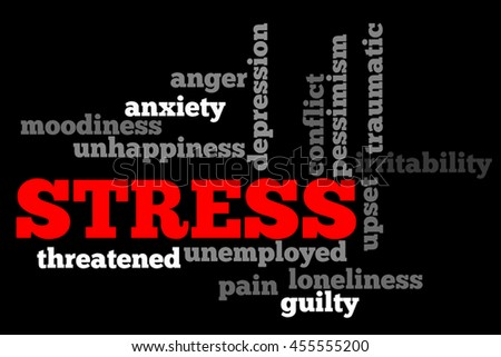 Stress info word cloud concept on black background. - stock photo