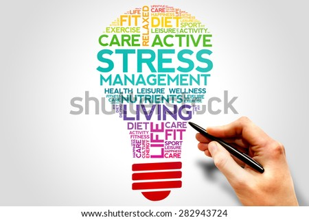 Stress Management bulb word cloud, health concept - stock photo