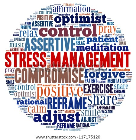 Stress Management in word collage - stock photo