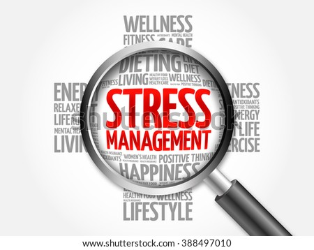 Stress Management word cloud with magnifying glass, health concept - stock photo