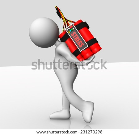 stress red time bomb  - little white human carry bomb - stock photo