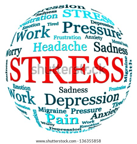 Stress related text arrangement (word cloud) with spherical form and the word STRESS in red uppercase isolated on white - stock photo