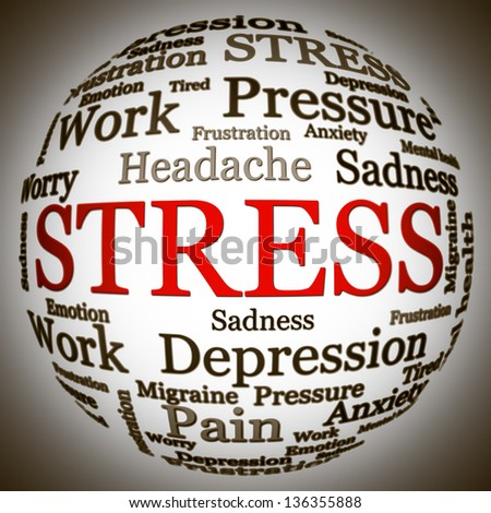 Stress related text arrangement (word cloud) with spherical form and the word STRESS in red uppercase (all other words are in black) - stock photo
