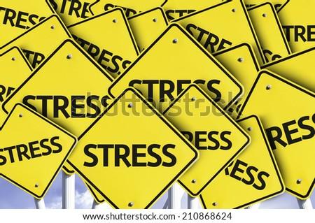 Stress written on multiple road sign  - stock photo