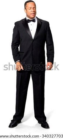 Stressed African man with short black hair in evening outfit - Isolated