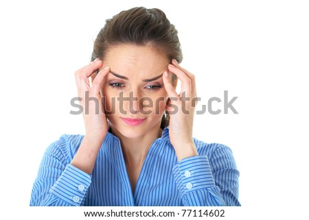 stressed and depressed young atractive businesswoman, isolated on white - stock photo