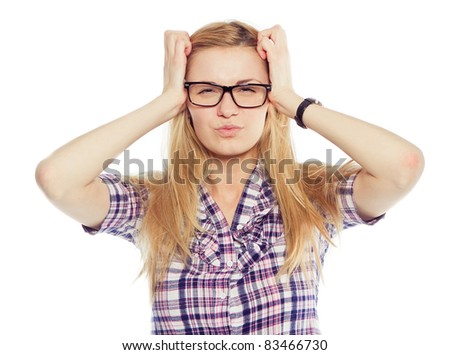 Stressed and freaking out woman - stock photo