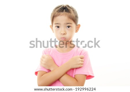 Stressed Asian girl isolated on white background