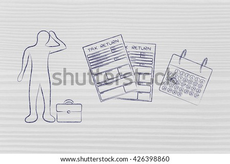 stressed business man and tax return forms to fill out with calendar - stock photo
