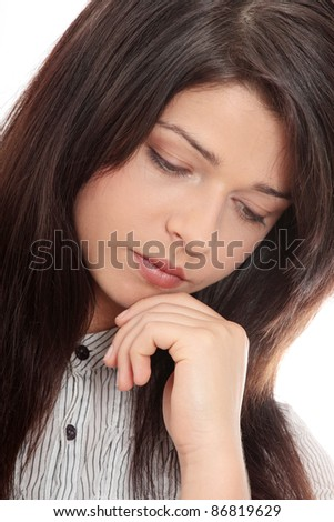 Stressed business woman isolated on white background - stock photo