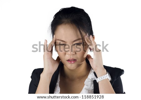 Stressed business woman with a headache isolate on white background, Model is a Asian woman. - stock photo