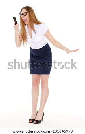 Stressed  business woman with mobile phone on a white background. - stock photo