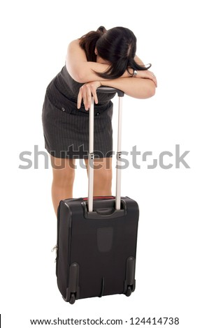 stressed business woman with suitcase / stressed woman