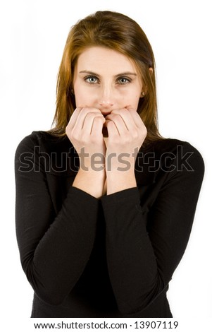 Stressed business women biting her nails