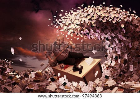 Stressed businessman in a bureaucracy sea, made of papers