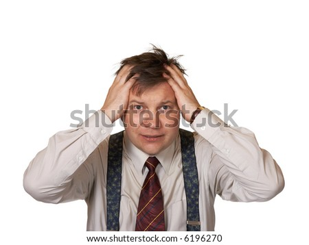 Stressed businessman, isolated on white background - stock photo