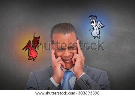 Stressed businessman putting his fingers on his temples against grey room - stock photo