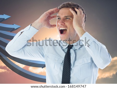 Stressed businessman shouting against blue curved arrows pointing against sky