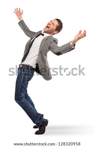 Stressed businessman / Young businessman screaming on white background