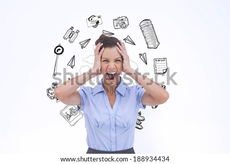 Stressed businessswoman with hand on her head against various lifestyle doodles - stock photo