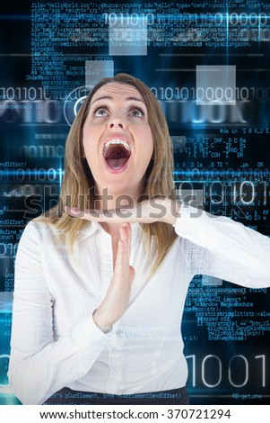 Stressed businesswoman asking for timeout against blue technology design with binary code - stock photo