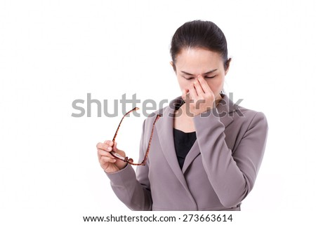 stressed businesswoman suffers from headache, mental sickness, overwork - stock photo