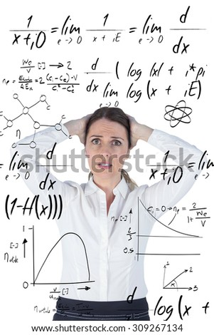 Stressed businesswoman with hands on her head against maths equation