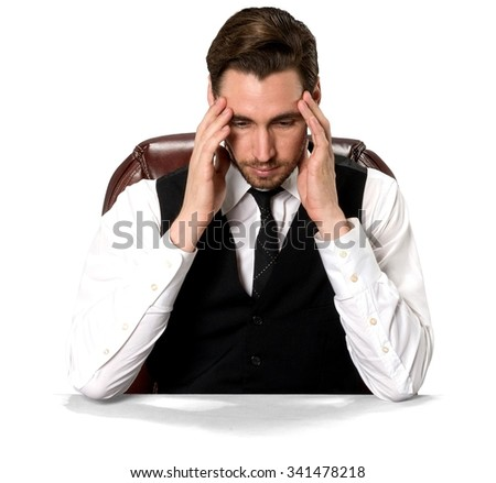 Stressed Caucasian man with short dark brown hair in business casual outfit with hands on face - Isolated