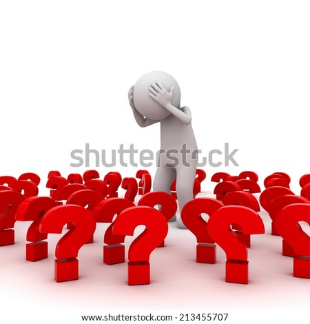 Stressed 3d man standing amongst red question marks over white background , Too many problems concept