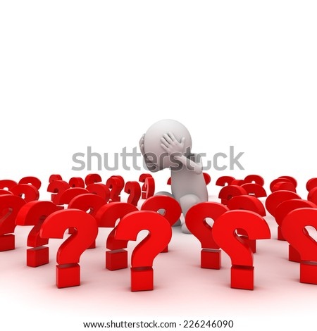 Stressed 3d man standing amongst red question marks over white background , Too many problems concept - stock photo