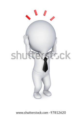 Stressed 3d small person.Isolated on white background.3d rendered. - stock photo