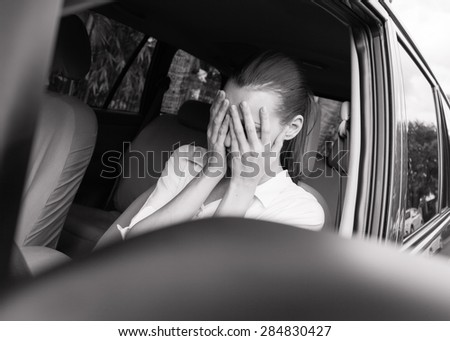 Stressed female driver