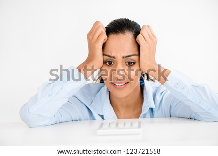 Stressed Indian business woman headache depressed