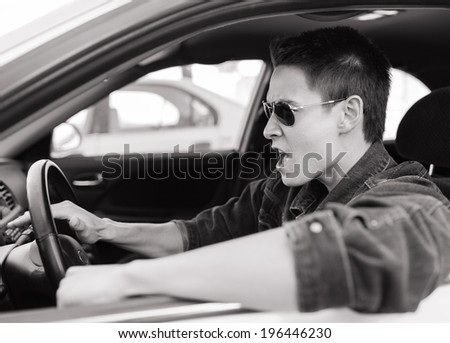 Stressed man driver. Transportation concept. - stock photo