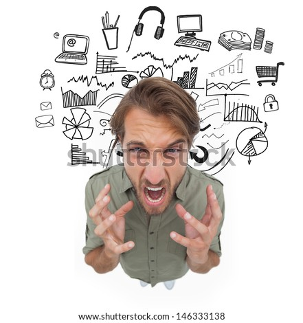 Stressed man gesturing and yelling with drawings of different icons on the background - stock photo