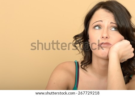 Stressed Moody Attractive Young Woman Close Up Portrait - stock photo