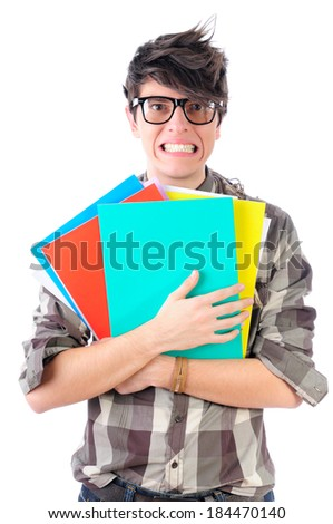 Stressed office worker faking a smile, isolated on white - stock photo