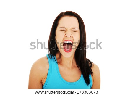 Stressed or angry woman screaming loud