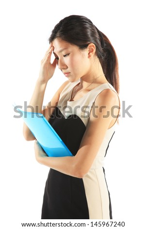 Stressed Out Employee as Asian Chinese Office Lady - stock photo