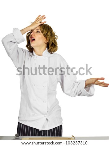 stressed out female chef - stock photo