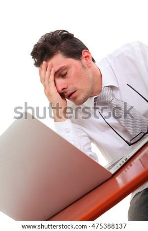 stressed out man with computer on white background