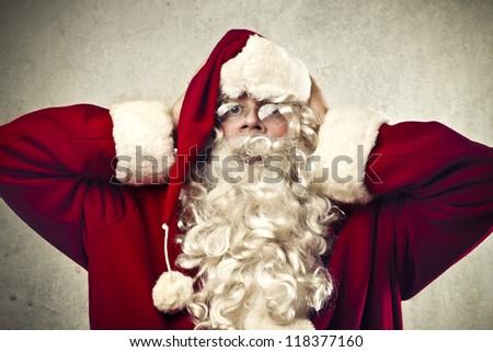Stressed Santa Claus - stock photo
